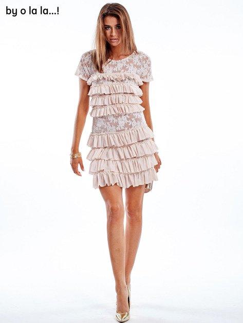 Sukienka jasnoróżowa z falbanami BY O LA LA                               zdj.                              2