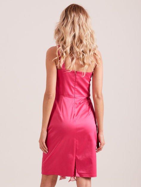 Sukienka koktajlowa na jedno ramię fuksjowa                              zdj.                              3