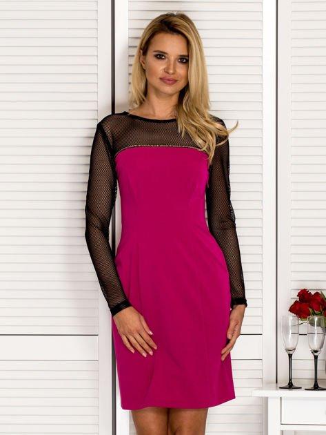 Sukienka koktajlowa z siateczkową górą ciemnoróżowa