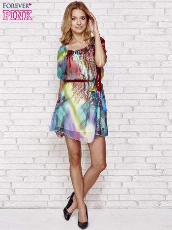 Sukienka mgiełka w kolorowe wzory z paskiem i aplikacją                                  zdj.                                  4