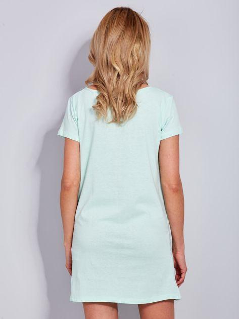 Sukienka miętowa bawełniana z napisem COLLEGE                                  zdj.                                  3