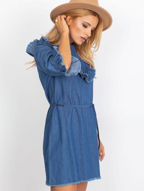 Sukienka niebieska z wystrzępionymi wykończeniem                               zdj.                              3