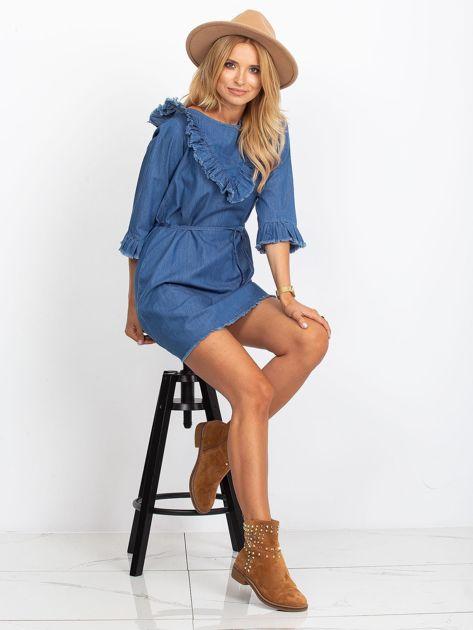 Sukienka niebieska z wystrzępionymi wykończeniem                               zdj.                              4