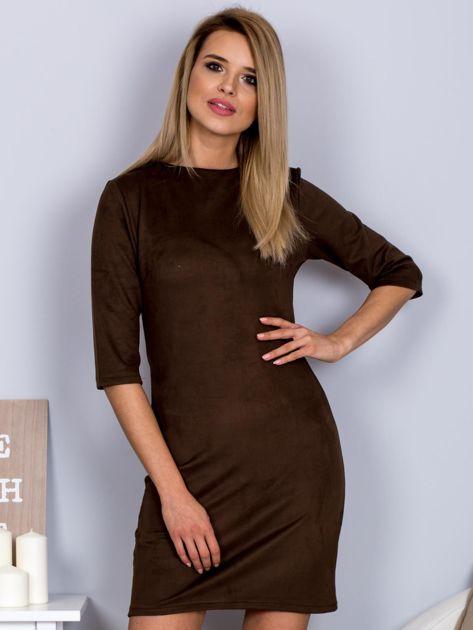 Sukienka o zamszowej fakturze ciemnobrązowa                                  zdj.                                  1