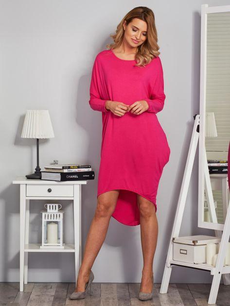 Sukienka oversize z dłuższym tyłem malinowa                                  zdj.                                  4