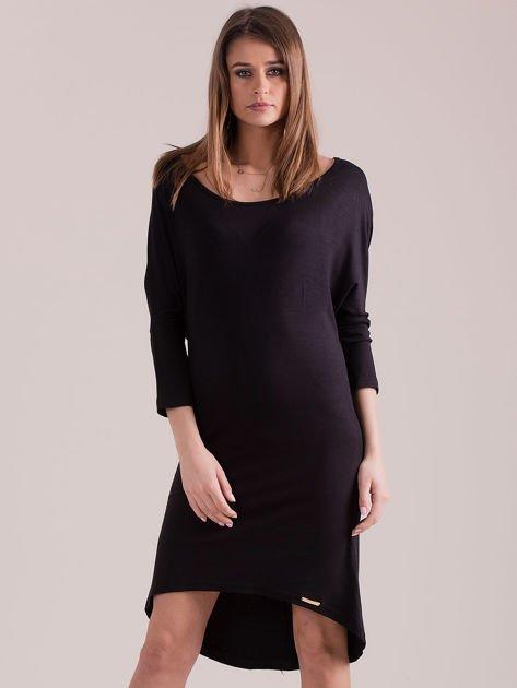 Sukienka oversize z obniżoną linią ramion czarna                              zdj.                              1