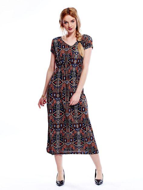 Sukienka w geometryczne wzory maxi                              zdj.                              4