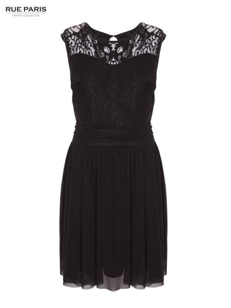 Sukienka z aplikacją z czarnej koronki i rozkloszowanym dołem                                  zdj.                                  7