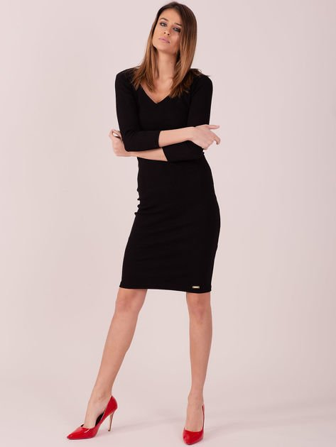 Sukienka z bocznymi wycięciami czarna                              zdj.                              4
