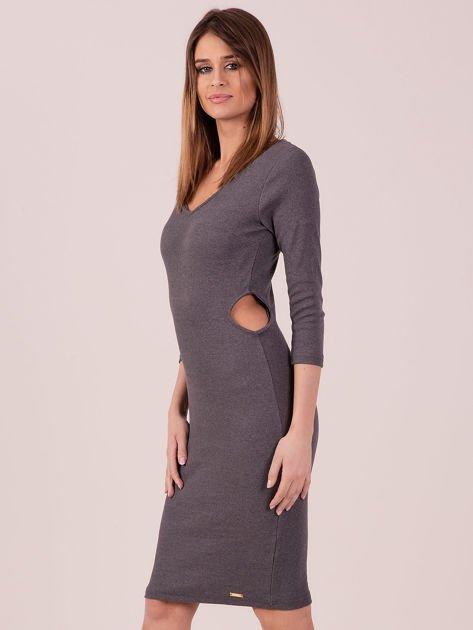 Sukienka z bocznymi wycięciami szara                              zdj.                              2