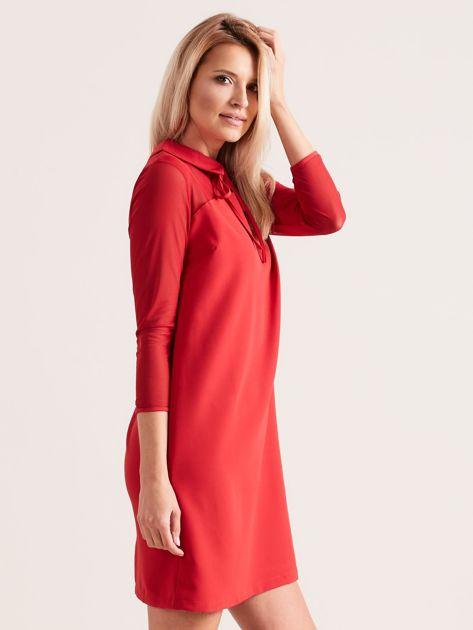 Sukienka z kołnierzykiem czerwona                              zdj.                              3