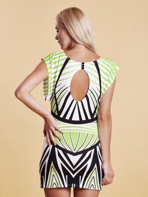 Sukienka z nadrukiem i wycięciem na plecach zielona                              zdj.                              2