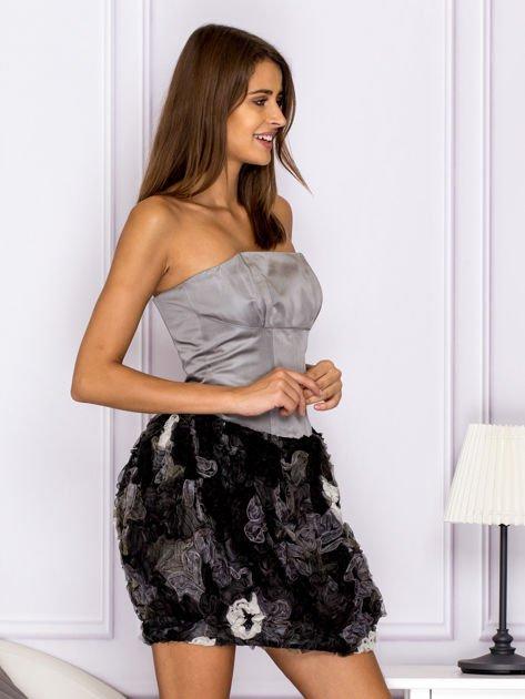Sukienka z ozdobą spódnicą szara                              zdj.                              3