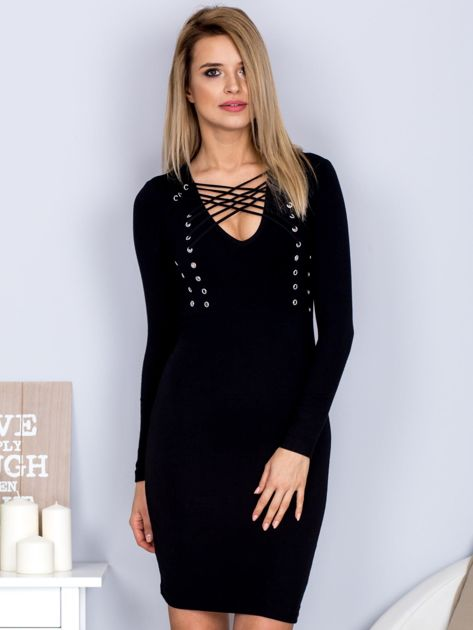 Sukienka z ozdobnym sznurowaniem czarna                              zdj.                              1