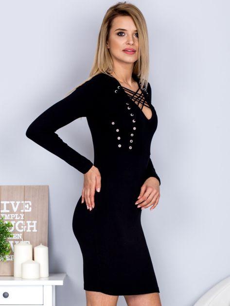 Sukienka z ozdobnym sznurowaniem czarna                              zdj.                              5