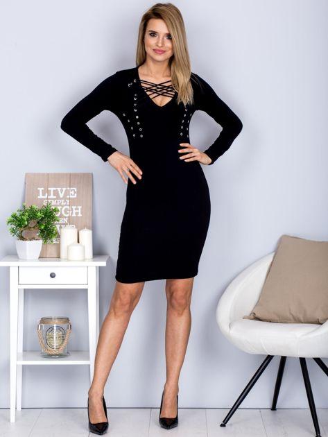 Sukienka z ozdobnym sznurowaniem czarna                              zdj.                              4
