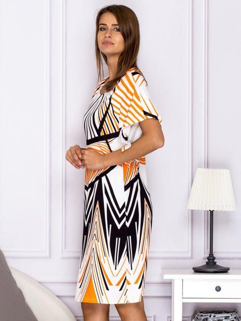 Sukienka z symetrycznym wzorem pomarańczowa                              zdj.                              5