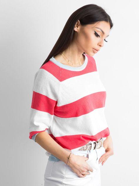 Sweter damski w paski koralowy                              zdj.                              3