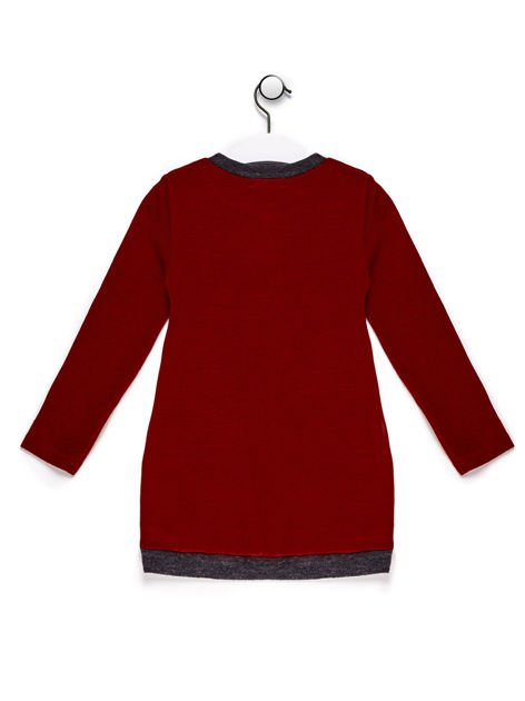 Sweter dla dziewczynki z nadrukiem moro czerwony