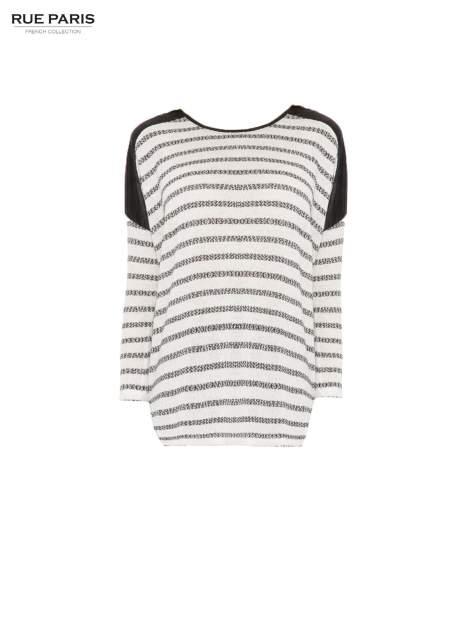 Sweter w ecru-czarne paski ze wstawkami na ramionach imitującymi skórę                                  zdj.                                  5
