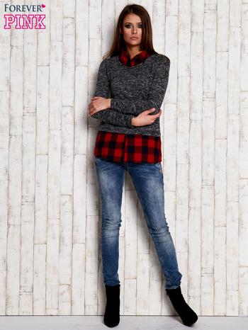 Sweter z koszulą w kratę ciemnoszary                                  zdj.                                  2