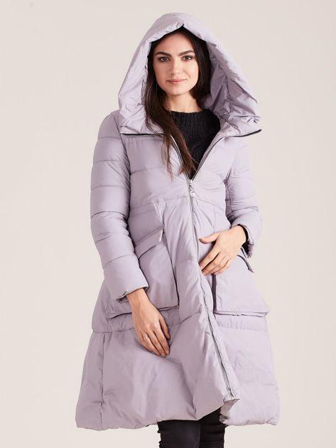 Szara asymetryczna kurtka zimowa                              zdj.                              5