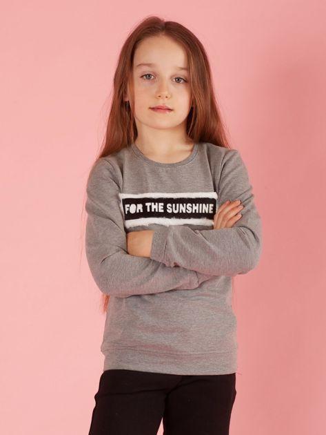 Szara bluza dziewczęca z futrzaną aplikacją                              zdj.                              1
