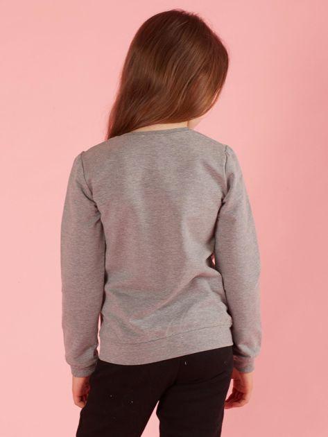 Szara bluza dziewczęca z futrzaną aplikacją                              zdj.                              2