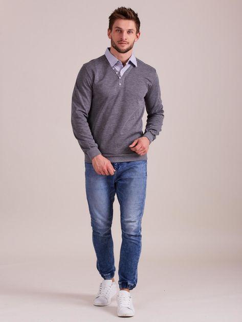 Szara bluza męska z koszulą                              zdj.                              3