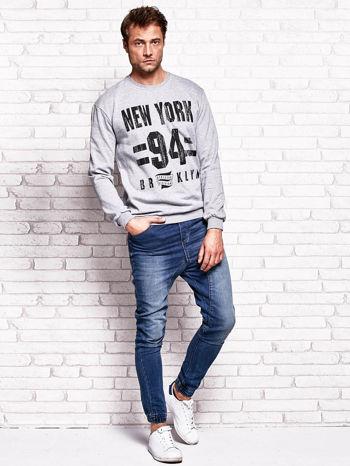 Szara bluza męska z napisem NEW YORK                                  zdj.                                  4