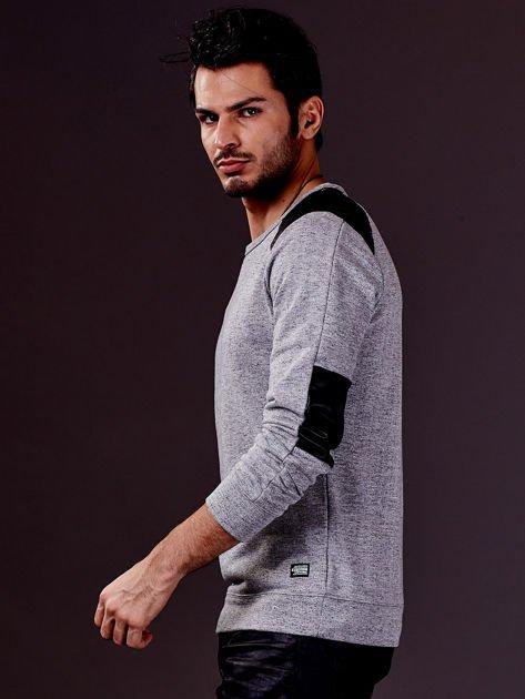Szara bluza męska ze skórzanymi wstawkami FUNK N SOUL
