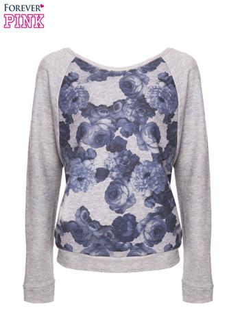 Szara bluza z floral printem i reglanowymi rękawami                                  zdj.                                  2