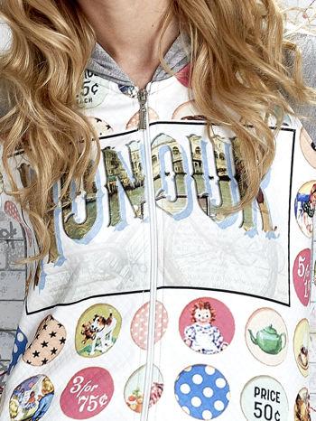 Szara bluza z kapturem i napisem HONOUR                                  zdj.                                  5