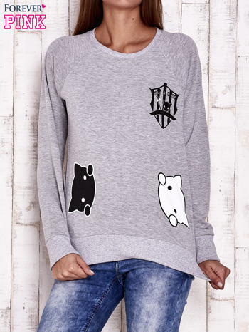 Szara bluza z kocimi motywami                                  zdj.                                  1