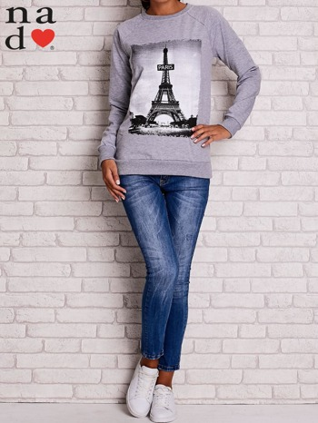 Szara bluza z motywem Wieży Eiffla                                  zdj.                                  2