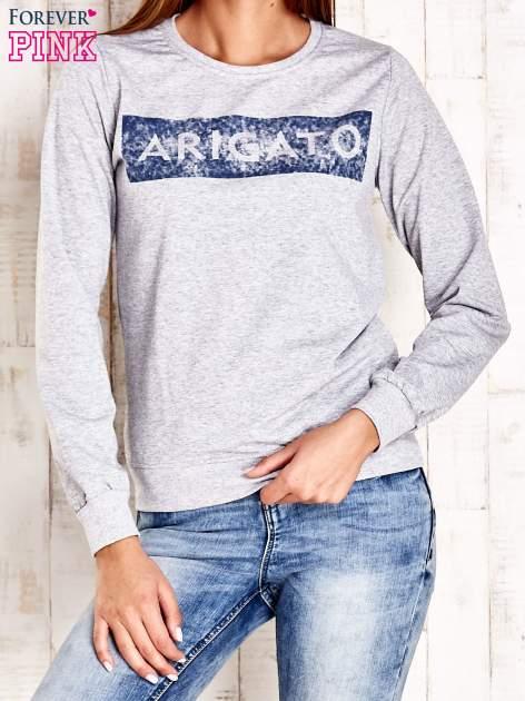 Szara bluza z napisem ARIGATO                                  zdj.                                  1
