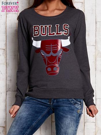 Szara bluza z napisem BULLS                                  zdj.                                  1