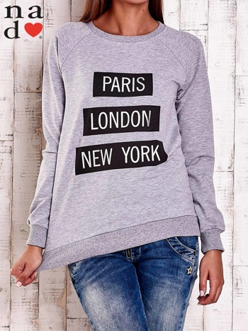 Szara bluza z napisem PARIS LONDON NEW YORK                                  zdj.                                  1