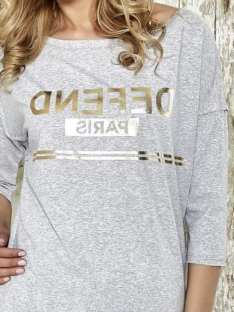 Szara bluza ze złotym napisem i suwakiem                                  zdj.                                  4