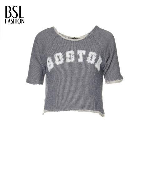 Szara bluzka typu cropped z napisem BOSTON                                  zdj.                                  2