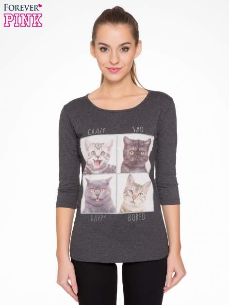 Szara bluzka z nadrukiem kotów