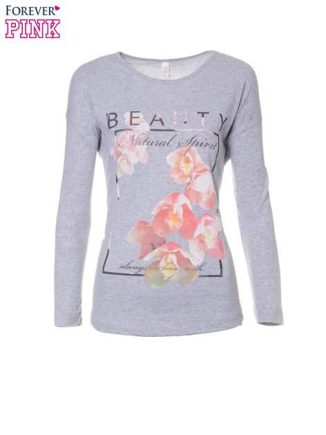 Szara bluzka z nadrukiem kwiatowym i napisem BEAUTY                                  zdj.                                  5