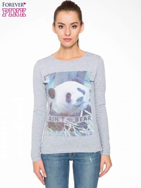 Szara bluzka z nadrukiem pandy