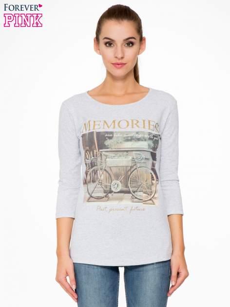 Szara bluzka z złotym brokatowym napisem MEMORIES                                  zdj.                                  1