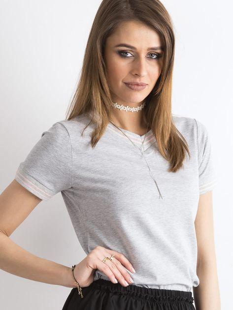 Szara bluzka ze ściągaczami w paski                              zdj.                              6