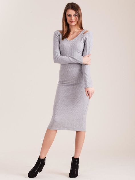 Szara dopasowana sukienka cold shoulder                              zdj.                              1