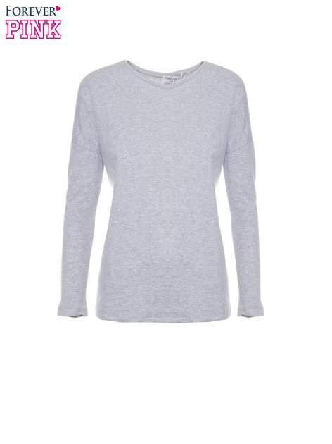 Szara dresowa bluza z dłuższym tyłem i obniżoną linią ramion                                  zdj.                                  5
