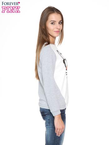 Szara dresowa bluza z kotem z motywem Instagrama                                  zdj.                                  3
