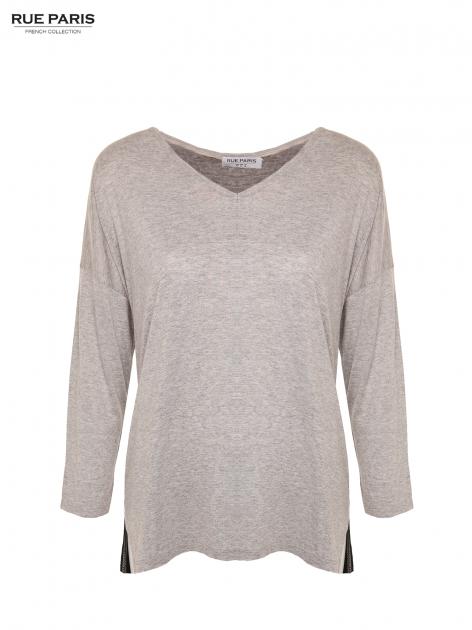 Szara dresowa bluzka z przedłużanym tyłem w kolorze czarnym                                  zdj.                                  4