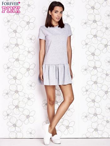 Szara dresowa sukienka z wycięciem na plecach                                   zdj.                                  2